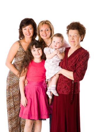 familia de cinco: Happy Family, junto a cinco personas aisladas en blanco Foto de archivo