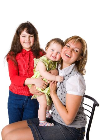 Happy Mother with two daughters isolated on white Stock Photo - 5104187
