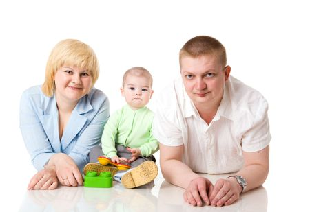 Happy Family of mother father and one year baby isolated Stock Photo - 5422028