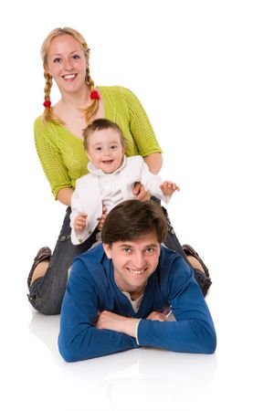 Happy Family with kid together isolated on white Stock Photo - 5297579