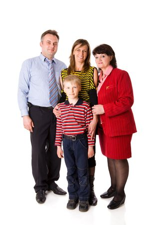 Happy Family with kid and grandmother together isolated on white Stock Photo - 5103224