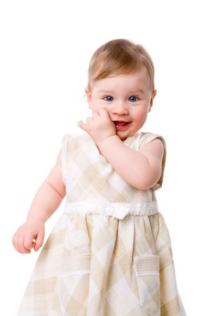 suck: Adorable Baby Girl in one year age isolated on white