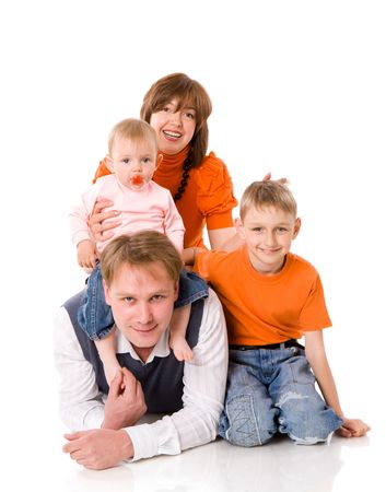 Happy Family with two kids together isolated on white Stock Photo - 5297541