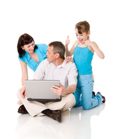 internet surfing: Family together making Online shopping isolated on white