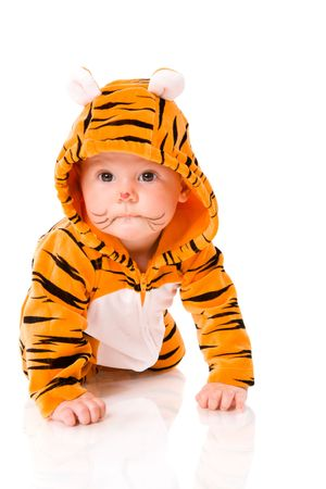 Six month baby wearing tiger suit sitting isolated on white