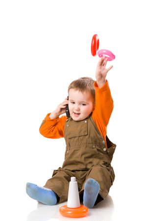 boy received good news playing with pyramid isolated photo