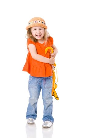Little Girl standing with closed umbrella isolated on white Stock Photo - 5504285