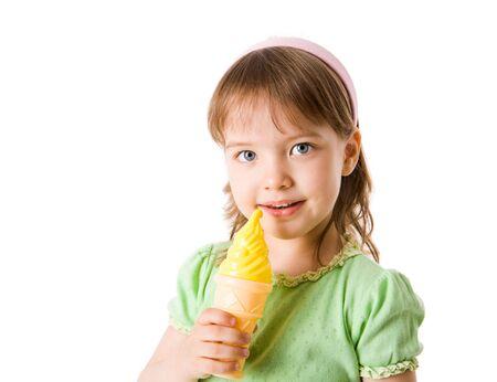 girl licking: Little girl eating tasty Ice-cream isolated on white