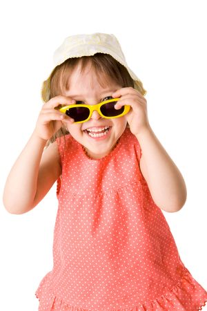 Little Girl holding sunglasses wearing panama isolated on white Stock Photo