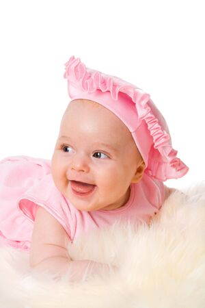 Happy baby wearing hat isolated on white Stock Photo - 6035851