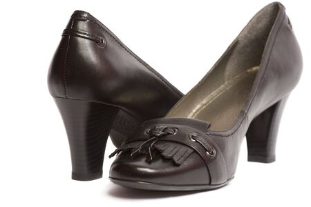 Classic womens black comfortable leather shoes isolated photo