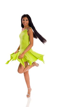 mulatto woman: Young mulatto Woman Dancing isolated on white