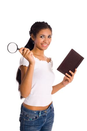 mulatto woman: Young mulatto woman holding book and magnifier isolated on white