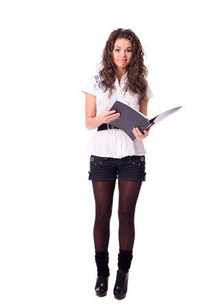 Young cheerful Secretary holding folder and pen isolated on white Stock Photo - 6083503