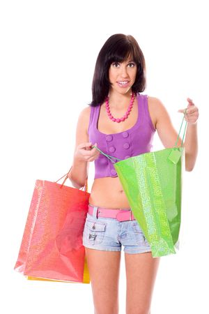 Young Woman shopping holding bags isolated on white Stock Photo - 6082994