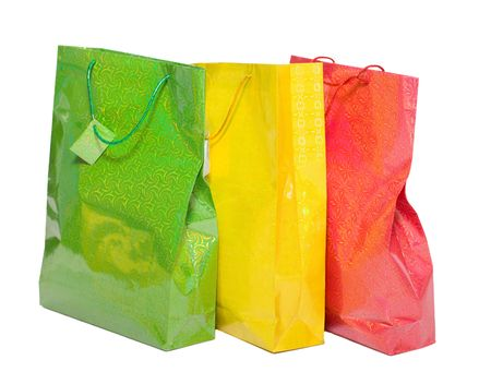 Two colorful paper bags for gifts isolated on white photo
