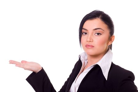 beautiful young confident business woman making presentation isolated Stock Photo - 6082936