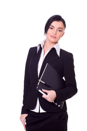 Portrait of a beautiful young confident business woman isolated on white Stock Photo - 6082996