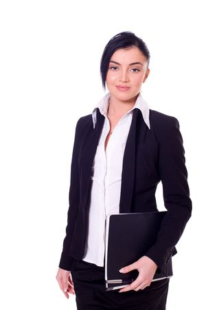 Portrait of a beautiful young confident business woman isolated on white Stock Photo - 6082675
