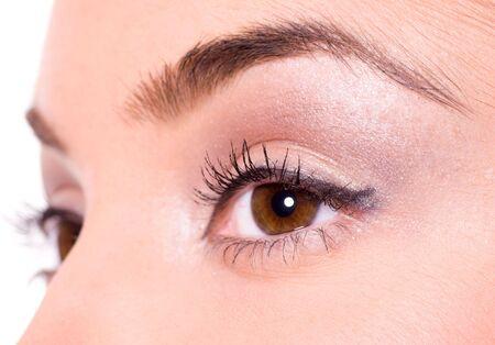 ojos marrones: Close-up of Beautiful marr�n ojos de ni�a Foto de archivo