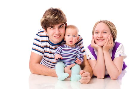 Happy Young Family with six month baby together isolated Stock Photo - 6083495