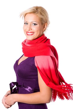Elegant young blond woman wearing scarf isolated on white photo