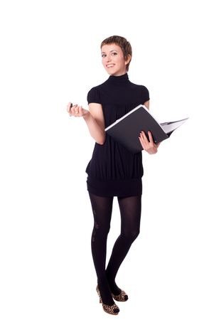 Young cheerful Secretary holding folder and pen isolated on white photo