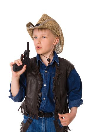 The boy wearing clothes of cowboy isolated on white Stock Photo - 6155442