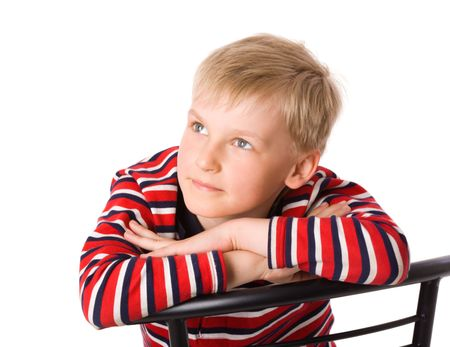 seven years: Happy seven years boy staring up isolated on white Stock Photo