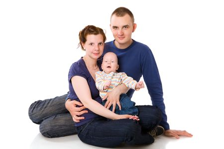 Happy Family with baby boy isolated on white photo