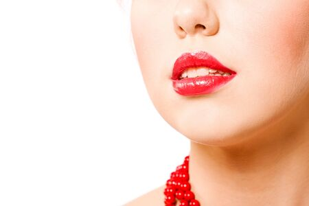 Young womans Lips and nose close up isolated on white photo