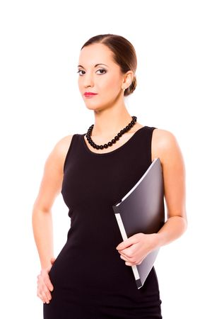 Young Business Woman holding folder isolated on white Stock Photo - 6321883