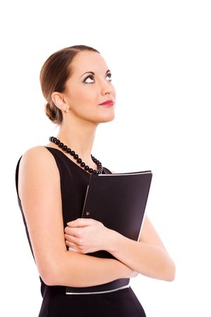 Young Business Woman holding folder looking up isolated Stock Photo - 6321999
