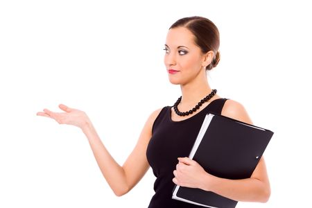 gesturing: beautiful young confident business woman making presentation isolated