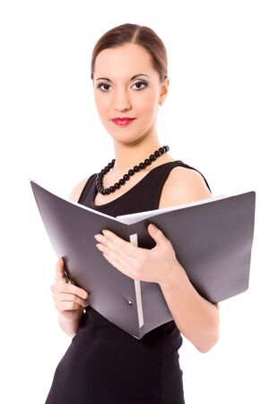 Young Business Woman holding folder isolated on white Stock Photo - 6321922