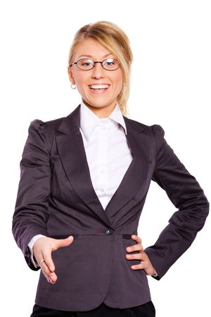 Young business woman greeting new partners isolated on white photo