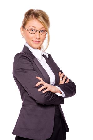 Portrait of Beautiful business woman isolated on white Stock Photo - 6502141