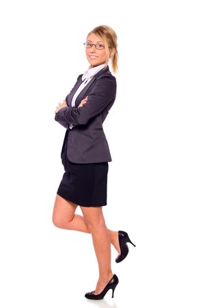 One beautiful Standing businesswoman isolated on white Stock Photo - 6502122