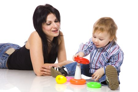 Mother playing with son isolated on white Stock Photo - 6502060