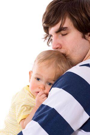 Sad father holding child close up isolated on white photo