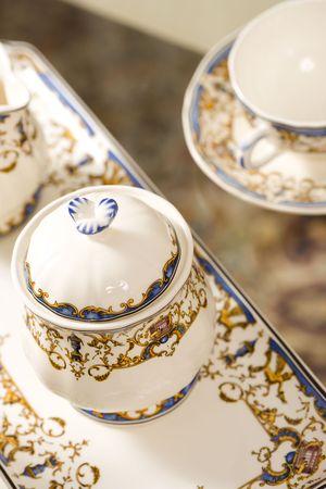 Chinese Tea Set made of porcelain close up photo