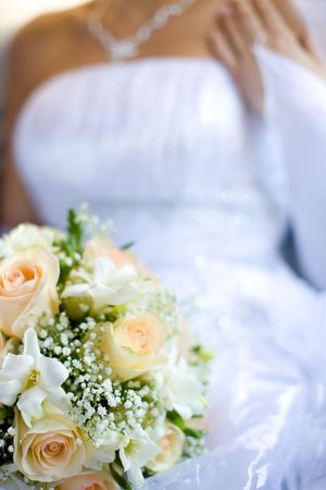Bride holding roses beige flowers bouquet in hands  Stock Photo - 6504865