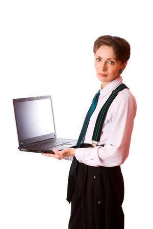 Portrait of Business woman holding laptop isolated on white photo