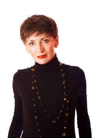 короткие волосы: Portrait of mature woman isolated on white