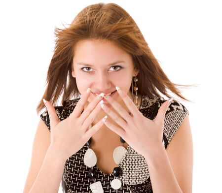 Excited girl shouting aloud hiding face isolated on white Stock Photo - 6502056