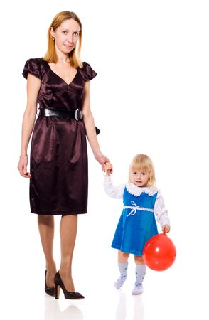 Mother and daughter smiling walking together isolated photo