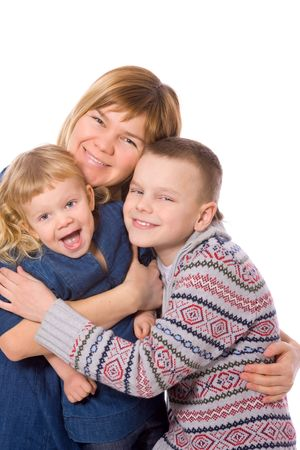 Happy mother holding tight two kids isolated on white Stock Photo - 7045279