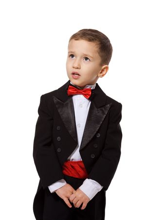 Little Boy wearing tuxedo portrait isolated on white Stock Photo - 7045272