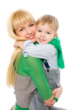 interested baby: Boy hugging mom tight isolated on white