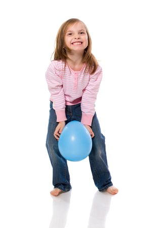 Little Girl Holding Balloon isolated on white photo
